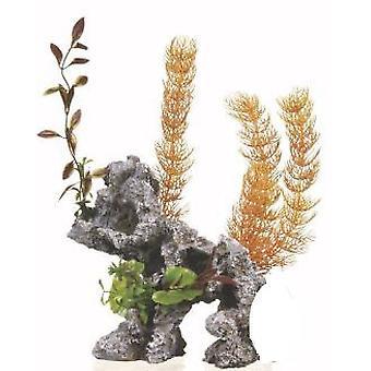 Marina Deco Rock - Rocha com Plantas Jumbo (Peixe , Decoração , Plantas artificiais)