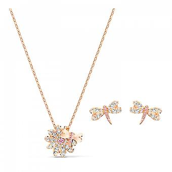 Swarovski Eternal Flower Rose Gold Tone Plated With Pink & White Crystal Dragonfly Set