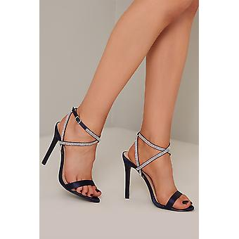 Diamante Embellished Navy Blue Heels