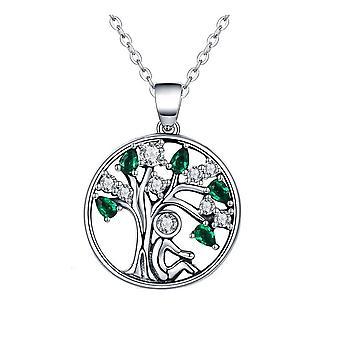 Pendentif Femme Arbre de vie orné de cristal de Swarovski blanc et vert et Argent 925 8080
