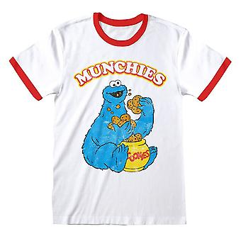 Men's Seesam Street Cookie Monster Munchies Valkoinen Ringer Retro T-paita