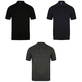 Henbury Mens Knitted Short Sleeve Polo Shirt