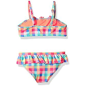 الملاك بيتش ليتل Girls & apos; كشكشة بيكيني مجموعة السباحة, البرتقالي / متعددة, البرتقالي, حجم 6