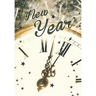 Simon Elvin Clock New Year Wishes Cards (Pack of 6)