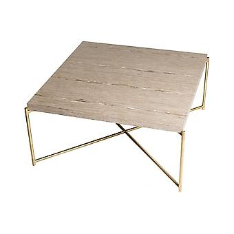 Gillmore Weathered Oak Square Coffee Table With Brass Cross Base