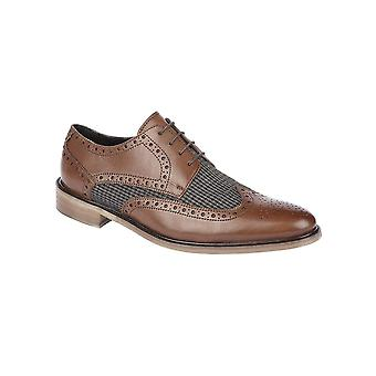 Roamers Brown/grey Leather/textile 4 Eye Wing Cap Brogue Gibson Shoe