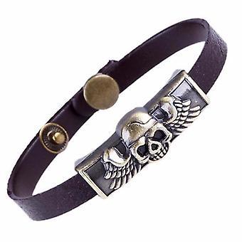 Flying skull bracelet biker leather belt