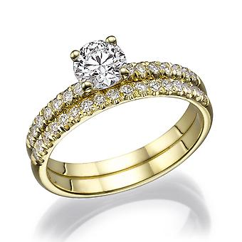 1 1/3 Carat G SI1 Diamond Engagement Ring 14k Yellow Gold Bridal Set Engagement Set Micro Pave