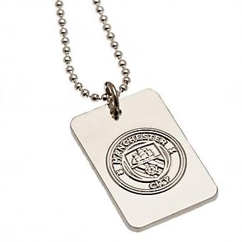 Manchester City Silver Plated Dog Tag & keten