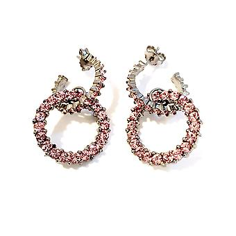 Giora Round Earrings in Bronze With Pink Swarovski Crystals.