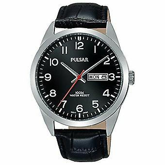 Pulsar Classic Quartz Silver Stainless Steel Case Black Leather Strap Men's Watch
