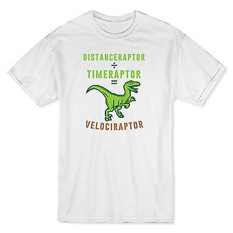 ¿Velociraptor matemáticas distancia dividido por tiempo? Camiseta blanca de los hombres