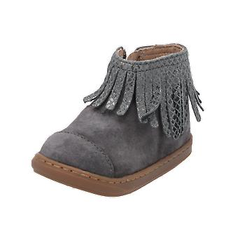 Shoo Pom Bouba Fringe Kids Girls Boots Grey Lace-Up Boots Winter