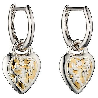 Elemente Silber Herz Creolen - Silber/Gold