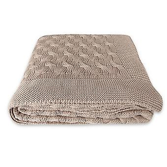 Plaid Softy 2 Colore Beige in Cotone, L130xP170 cm