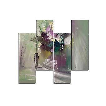Pintura paisagística 199 Multicolorida em MDF, L19xP0.3xA50 cm (4 Peças)