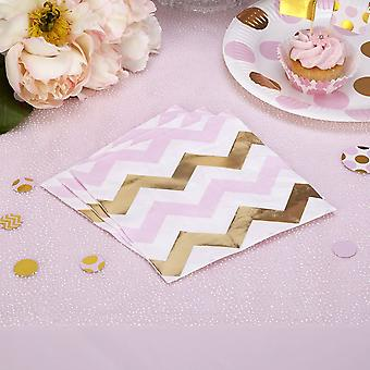 Pink, Gold and White Chevron Paper Napkins x 16 Party Babyshower