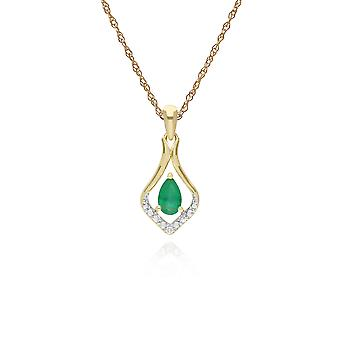 Classic Pear Emerald & Three Diamond Leaf Halo Pendant Necklace in 9ct Yellow Gold 135P1915039