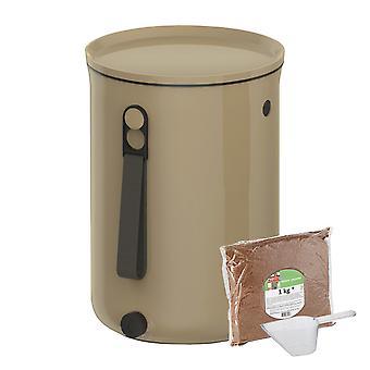 Skaza Bokashi Organko 2 | Bekroonde keukencompostcontainer van gerecycled kunststof | 9,6 L | Startersset voor keukenafval en compostering | met EM beregening 1 kg | Bruin-Beige