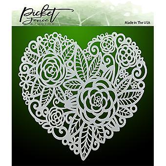Picket Fence Studios Flowers in a Heart Stencil