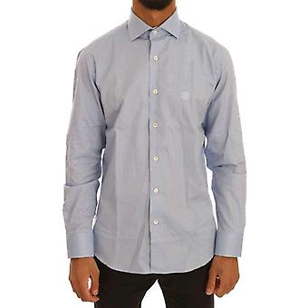 Blauw katoenen Slim Fit jurk Shirt--TSH1403120