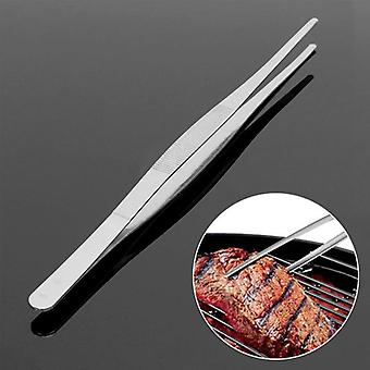 Long Barbecue Food Tong Stainless Steel Straight Tweezer Toothed Tweezer Home Medical Garden Tool