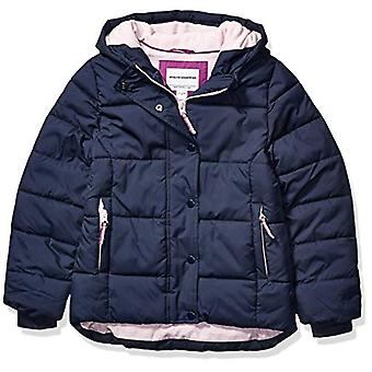 Essentials Girls' Big Heavy-Weight Hooded Puffer Coat, Navy, X-Large