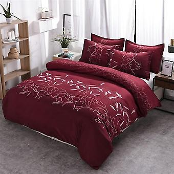 Simple Luxury Plain Jacquard Floral Printed Bed Linen Duvet Cover Set