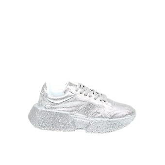 Mm6 Maison Margiela S59ws0096p3494t9002 Dames's Silver Leather Sneakers