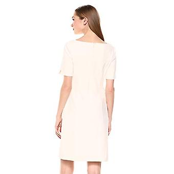 Marque - Lark & Ro Women's Short Sleeve Bateau Neck Sheath Dress with P...
