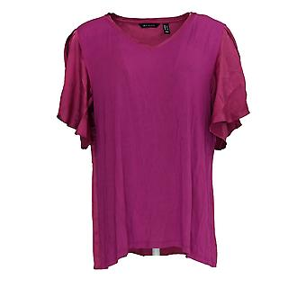 H by Halston Women's Top V-Neck Mixed Media Flutter Sleeve Pink A310023