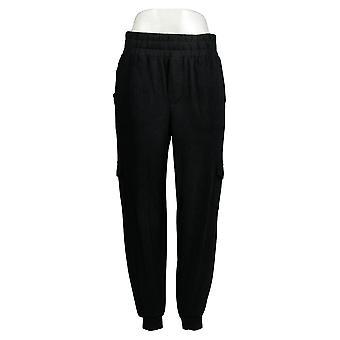 Anybody Women's Pants Cozy Knit Cargo Joggers W/Pockets Black A310051