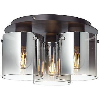 BRILJANT Lamp Beth Plafondlamp 35cm zwart/gerookt glas | 3x A60, E27, 60W, g.v. normale lampen n. ent. | Voor LED-lampen