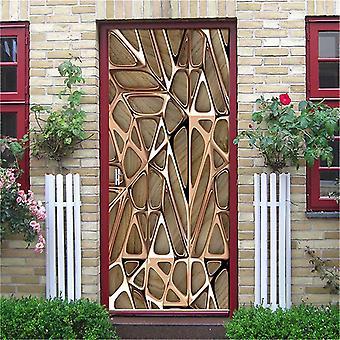Retro Wooden Door Stickers - Pvc Waterproof Wallpaper