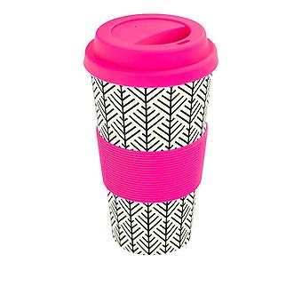 Reusable Coffee Cup - Bamboo Fibre Travel Mug with Silicone Lid, Sleeve - 400ml (14oz) - Geometric - Pink