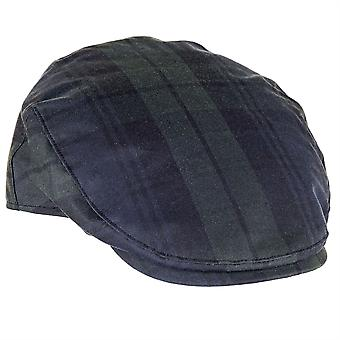 ZH183 (BLACKWATCH M 58cm ) Charles Tartan Wax Flat Cap