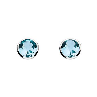 Dew Silver Medium Round Blue Topaz Cubic Zirconia Earrings 3039BT014