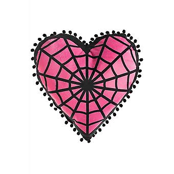 Sourpuss Clothing Webbed Heart Shaped Pillow