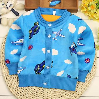 Cartoon/flowers/letter Printed Velvet Warm Sweaters For Babies