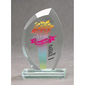 Trofeo de cristal con impresión en color Luxorjet y estuche