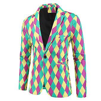 YANGFAN Férfi Divat Nyomtatott Lingge Suit Jacket egysoros blézer