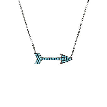 925 Sterling Silver Oxidised Black Blue Arrow Turquoise CZ Gemstone Necklace