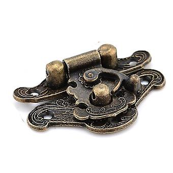 Antieke bronzen klink sieraden houten doos slot, mini-kast gesp