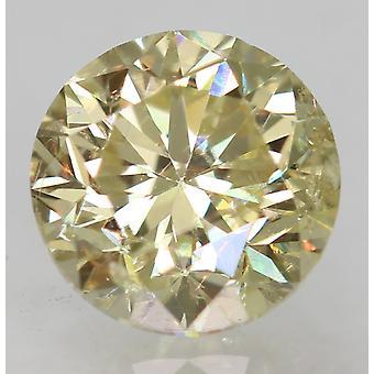 Cert 0.57 Karaat Fancy Yellow VS1 Ronde Brilliant Enhanced Natural Diamond 5.04mm