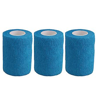 3PCS Breathable Cohesive Self-Adherent Sport Tape Width 7.4cm Blue