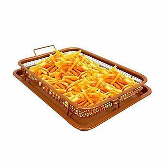 Kabalo Non-Stick Cobre Crisper Forno Assado Bandeja Chips Chef Crisping Basket Ferramenta 2 Peças