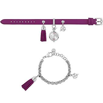 Furla Women'S White Dial  Chain Calfskin Leather Set Watch