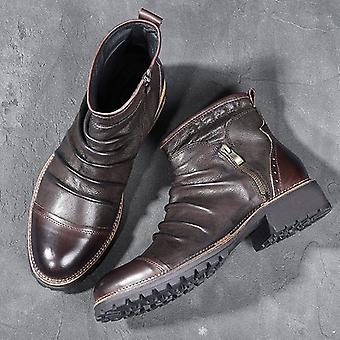 Hommes Chelsea Leather Vintage Style High Top Zipper Bottines
