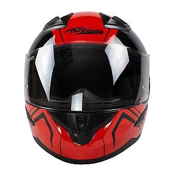 Nitro N2400 Rogue Full Face Motorcycle Helmet Black Red