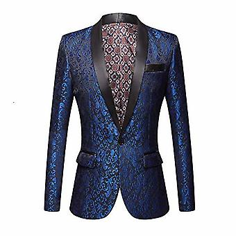 Men Floral Jacquard Suit, Jacket, Wedding Groom Prom Slim Fit, Tuxedo Blazers
